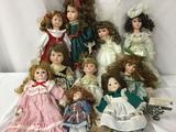 Ten porcelain dolls from makers like Seymour Mann, Regency Dolls, and The Broadway Collection. JRL