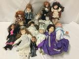 14x porcelain, composite and vinyl dolls. Menie, nostalgic doll and more. Largest doll measures