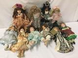10x porcelain and composit dolls. Georgetown collection and ,ore. Largest doll measures