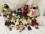 16x porcelain, composite and plastic dolls. Danbury Mint and more. Largest doll measures