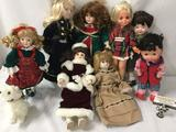 Eight porcelain, vinyl and composite dolls from makers like Ideal Toy Company, Heritage Mint, and