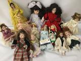 Thirteen porcelain, vinyl, and ceramic dolls from makers like Bradley Dolls, Horsman Dolls, and