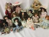 Thirteen porcelain dolls from makers like Seymour Mann, Cathey Collection, Collectors Choice, and