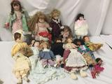 18x porcelain, composite, vinyl and plastic dolls. Seymour Mann and more. Largest doll measures