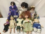 9x porcelain and composite dolls. Seymour Mann and more. Largest doll measures approximately 20x9x4