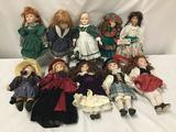 10x composite and porcelain dolls. Dynasty doll, heritage Mint and more. Largest doll measures