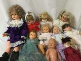Ten vinyl, soft vinyl, and composite dolls from makers like Famosa, Pat Secrest, Royal House of