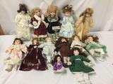 13x porcelain, composite, and vinyl dolls. Collectors choice, heritage Mint and more. Some have