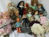 Fifteen composite, porcelain, and vinyl dolls from Heritage Mint, Seymour Mann, Sugar Loaf, and