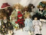 Ten porcelain and composite dolls From makers like House of Lloyd and Our Own Import. Largest doll