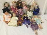 12x porcelain, composite, and vinyl dolls. Mann, Dynasty Dolls, and more. Largest doll measures