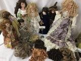 Eight porcelain dolls from makers like PJH and others. Largest doll is approximately 31x8x4 inches.