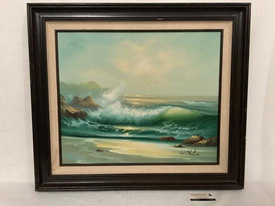 Framed original Oceanside surf & shore scene oil painting - signed by artist W. Chester