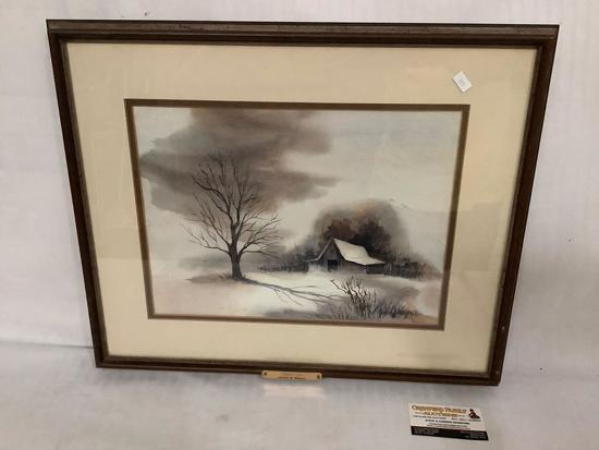 "Framed original watercolor ""Winter Eve"" of a barn/farm in winter signed by artist Judith B Wagner"