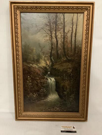 Vintage framed original canvas oil painting of a waterfall in the forest - artist unknown