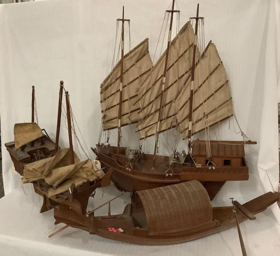 Lot of 3 Vintage wooden ship models