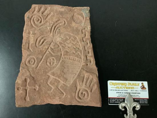 Vintage Native American Hopi kokopelli fertility symbol etched ceramic stone art piece