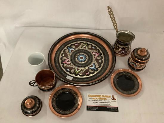 Vintage copper Turkish coffee set with inlaid design, 2 cups w/ lids & saucers, serving tray etc
