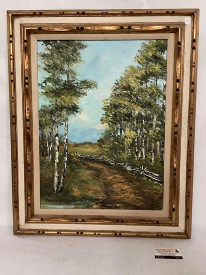 Framed original Forest scene canvas oil painting signed by artist Pamela Love (Bellevue, WA)
