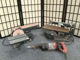 Lot of 3 power tools - 1 unmarked scroll saw, 1 Craftsman belt/disk sander & a sawzall