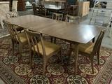 Vintage modern mid century style dining table with leaves & 6 chairs