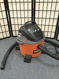 One Rigid brand 22.5 liter/6 gallon shop vac. Serial No. 15045R0140. Tested and working fine
