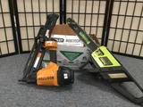 1 electric Poulan ES 300 16 inch electric chainsaw 7=& 1 Bostitch nailgun with manuals and a box of