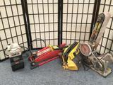 Rexon Mario 1 power sander, 1 Wen Wet stone machine, 1 Central Hydraulics 2 ton trolley jack and