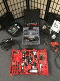 Big lot of assorted tools incl. Black & Decker drill, Mastergrip 77 pc air tool set, dremel tool,