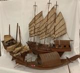 Lot of 3 Vintage wooden ship models