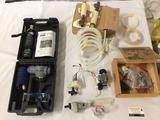 Lot of misc equipment incl. Kobalt regulator kit, safety glasses & Rhino C02 tank, model parts,