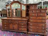 Lot of 2 American Drew dressers - tall boy with 7 drawers and long 9 drawer dresser with mirror