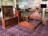 5 pc vintage wood bedroom lot - Queen size poster bed, 2 nightstands, tallboy dresser & long dresser