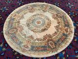 Vintage Sears Kismet Classic wool decorator rug - round multi-color pattern and made in Belgium