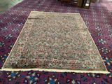 Vintage Karastan wool area rug carpet with colorful floral pattern
