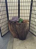 Natural cedar wood planter by local artist Chau Woodhead