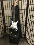 Fender Squire Stratocaster...electric guitar, w/ gig bag and Johnson RepTone 15 amplifier