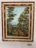 Framed original Forest scene canvas oil painting signed by artist Pamela Love (Bellevue, WA)