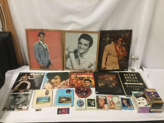 28 pc lot of Elvis memorabilia - books, vhs, 8 track, vinyl and more see desc and pics!