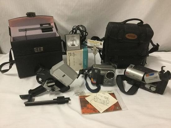 Camera/video equipment - Bolex 155 Super 8, Bolex lite s2, Sony Mavica, and Samsung 8mm Video camera