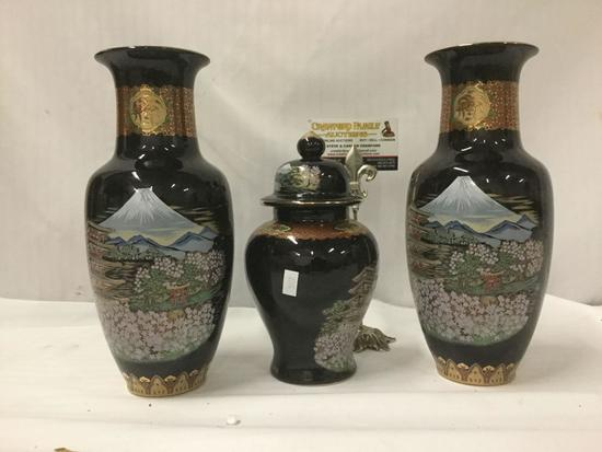 3 pc set of hand painted Japanese vases and lidded urn with gold trim and mountain scene