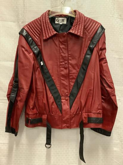 Vintage Michael Jackson - Thriller style new wave 1980s leather jacket by G-III New York, size 5/6