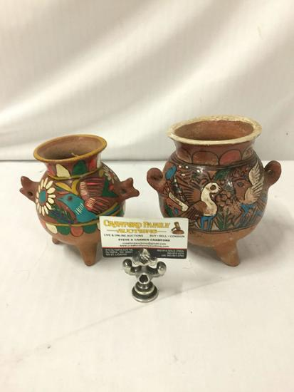 2 pc of hand painted Mexican or South American clay pottery pieces with bird motifs