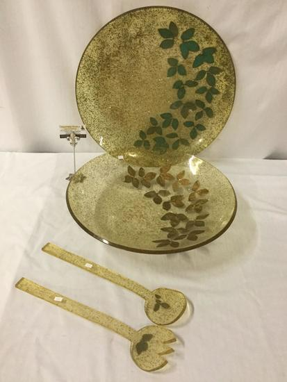 Vintage 4 pc matching large plastic/resin party bowl set with sparkle & leaf design
