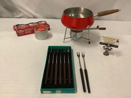 Mid century enamelware fondue set with pot, stand, burner, and 8x Inox fondue forks