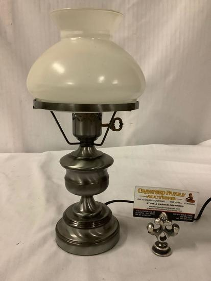 Small vintage style brushed steel base hurricane table lamp with glass shade