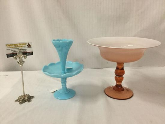 2 antique glass pcs incl. Portieux Vallerysthal single horn epergne & amber over milk compote