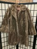 Antique Meier and Frank company Brynwood Tissavel simulation fur coat from France, approx 39x18