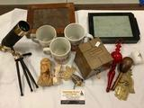 Lot of vintage home Decore and antiques, figure carvings, canasta shuffler, coffee mugs, frame and