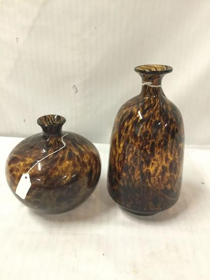 2 vintage tortoise shell design glass bottle vases